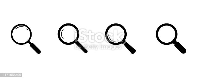 istock Search icons. Set of magnifying glass icons. Magnifier or loupe sign set. search icon Concept for finding people to work. 1171666499