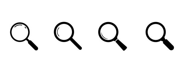 ilustrações de stock, clip art, desenhos animados e ícones de search icons. set of magnifying glass icons. magnifier or loupe sign set. search icon concept for finding people to work. - lupa