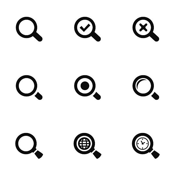 search icons set search icons set, black on white background searching stock illustrations