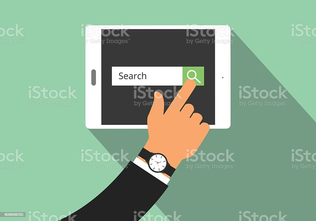 search illustration with hand searching on his tablet  view from vector art illustration