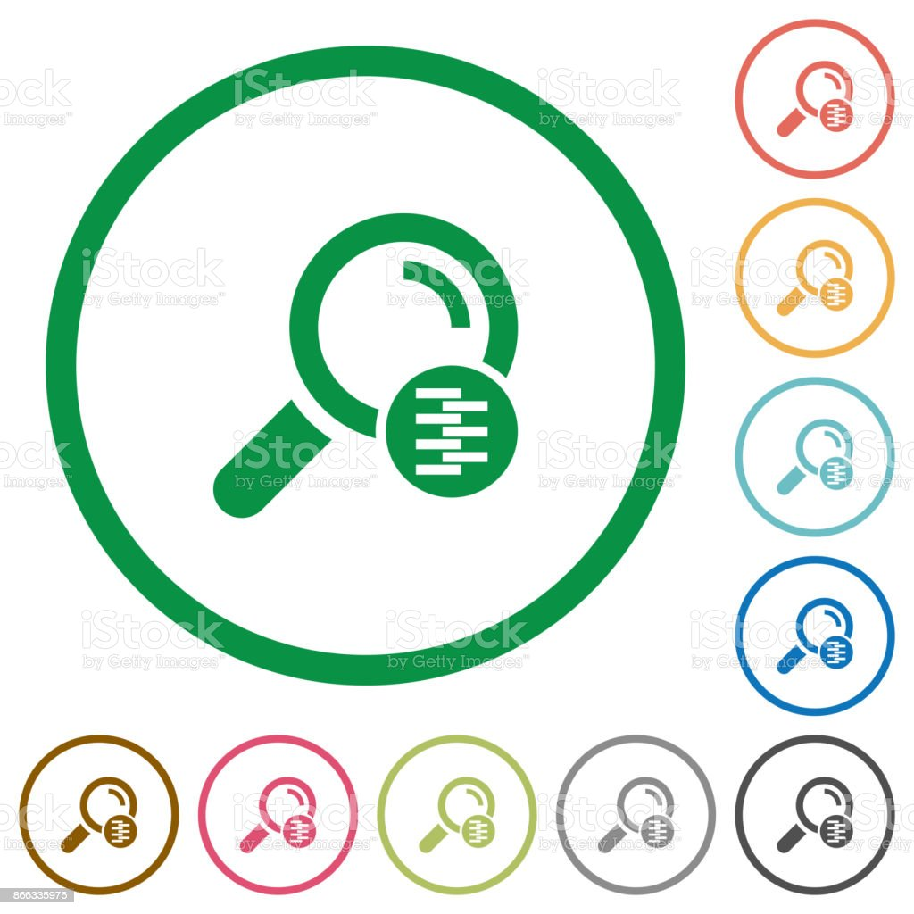 Search in compressed files flat icons with outlines vector art illustration