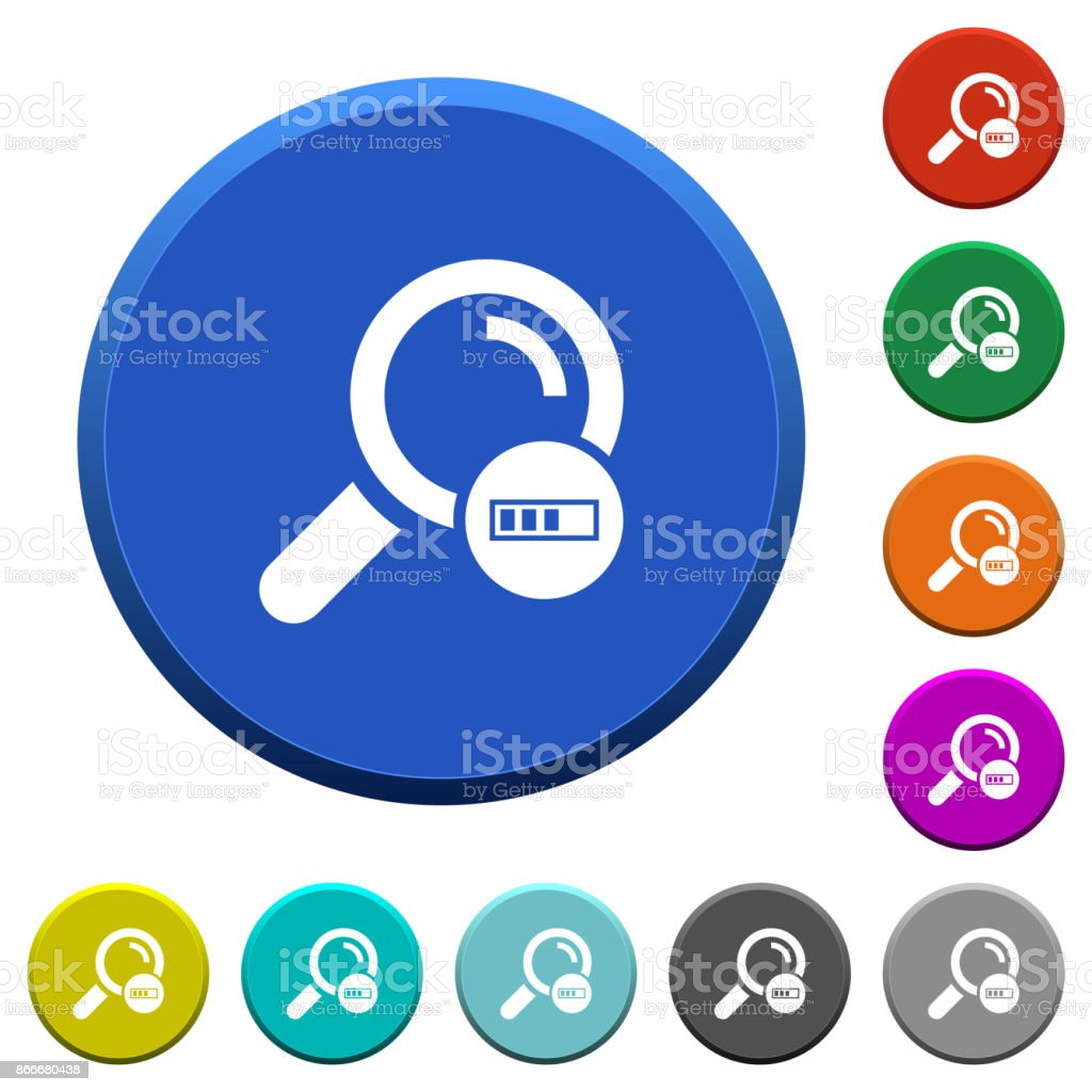 Search in progress beveled buttons vector art illustration