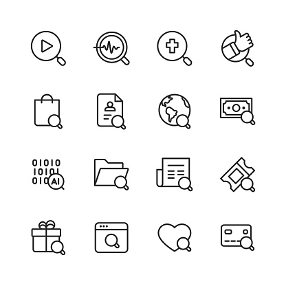 Search Line Icons. Editable Stroke. Pixel Perfect. For Mobile and Web. Contains such icons as Search, SEO, Magnifying Glass, Shopping, Investing, Artificial Intelligence, Gift, Credit Card.