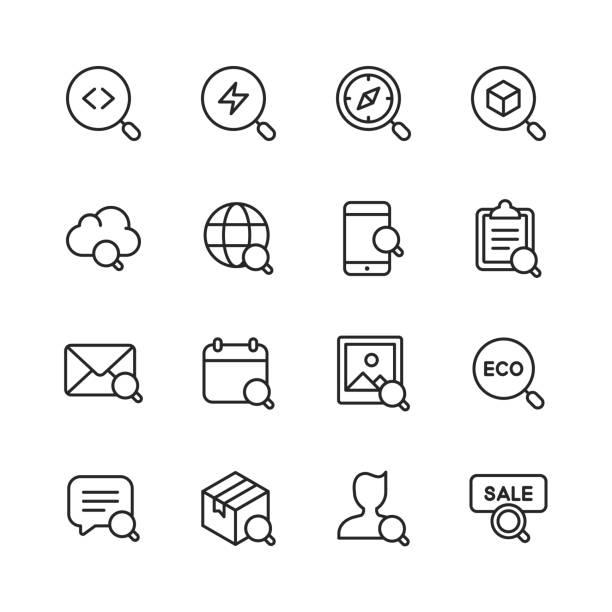 ilustraciones, imágenes clip art, dibujos animados e iconos de stock de iconos de línea de búsqueda. trazo editable. píxel perfecto. para móviles y web. contiene iconos como búsqueda, seo, lupa, entrega, mensajería, búsqueda de trabajo, venta, imagen. - zoom call