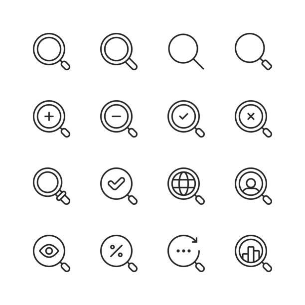 suchen sie liniensymbole. bearbeitbarer strich. pixel perfekt. für mobile und web. enthält symbole wie suche, seo, lupe, job-jagd, suche, suchen, deal-jagd. - sucht stock-grafiken, -clipart, -cartoons und -symbole
