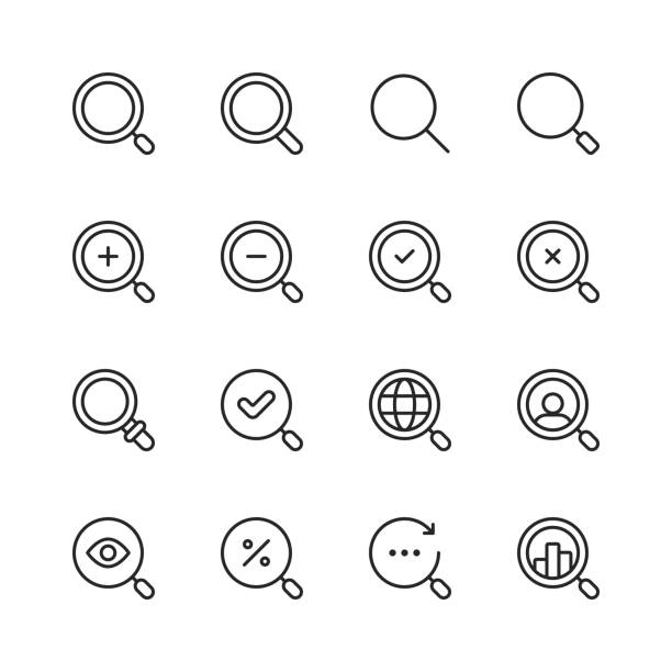 ilustrações de stock, clip art, desenhos animados e ícones de search line icons. editable stroke. pixel perfect. for mobile and web. contains such icons as search, seo, magnifying glass, job hunting, searching, looking, deal hunting. - lupa