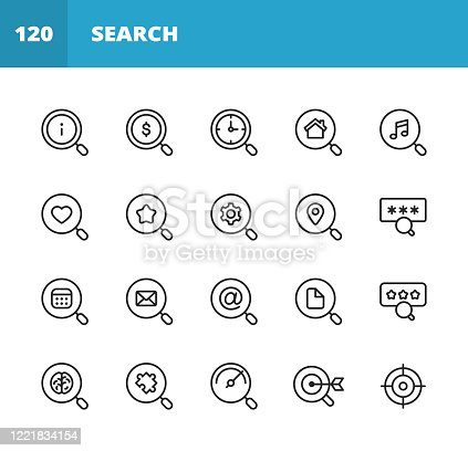 20 Search Outline Icons.
