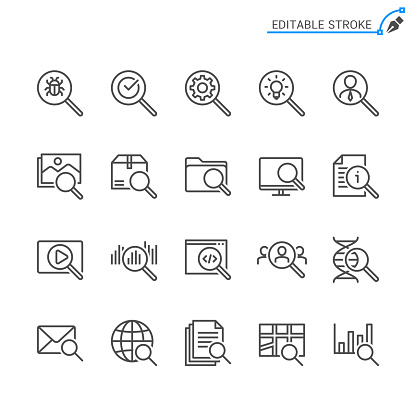 Search line icons. Editable stroke. Pixel perfect.