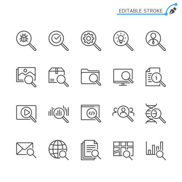 suchliniensymbole. bearbeitbarer strich. pixel perfekt. - sucht stock-grafiken, -clipart, -cartoons und -symbole