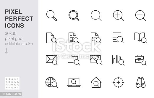 Search line icons set. Zoom, find document, magnify glass symbol, look tool, binoculars minimal vector illustrations. Simple flat outline signs for web interface. 30x30 Pixel Perfect Editable Strokes.