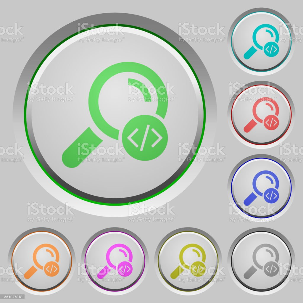 Search programming code push buttons vector art illustration