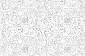 Search related from line icon. Linear vector pattern. Vector illustration