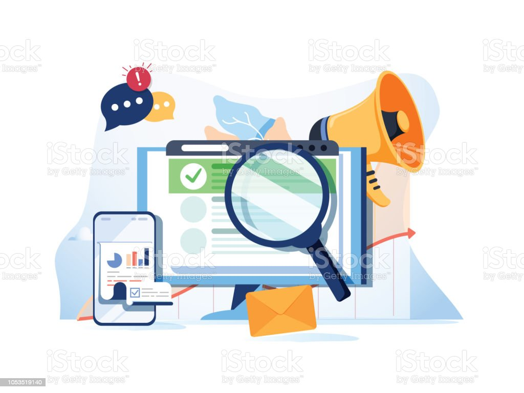 Search result optimization SEO marketing analytics flat vector banner with icons. SEO performance, targeting and monitoring - arte vettoriale royalty-free di Affari