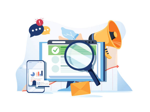 illustrazioni stock, clip art, cartoni animati e icone di tendenza di search result optimization seo marketing analytics flat vector banner with icons. seo performance, targeting and monitoring - social media
