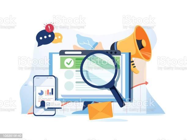 Search Result Optimization Seo Marketing Analytics Flat Vector Banner With Icons Seo Performance Targeting And Monitoring - Immagini vettoriali stock e altre immagini di Affari