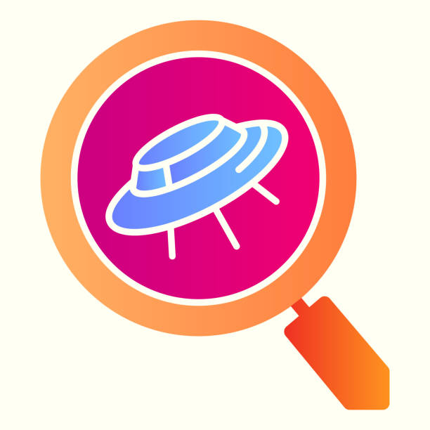 Search scan for ufo line icon. Spaceship and lens, magnifier. Astronomy vector design concept, outline style pictogram on white background, use for web and app. Eps 10. Search scan for ufo line icon. Spaceship and lens, magnifier. Astronomy vector design concept, outline style pictogram on white background, use for web and app. Eps 10 ancient civilization stock illustrations