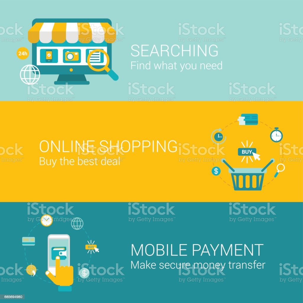 Search shop pay online concept flat icons set of searching best deal sale making purchase mobile payment vector web banners illustration print materials website click infographics elements collection. royalty-free search shop pay online concept flat icons set of searching best deal sale making purchase mobile payment vector web banners illustration print materials website click infographics elements collection stock vector art & more images of abstract