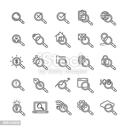 Search Signs Black Thin Line Icon Set Element for Web Design Include of Cloud, Key, Email and Lamp. Vector illustration