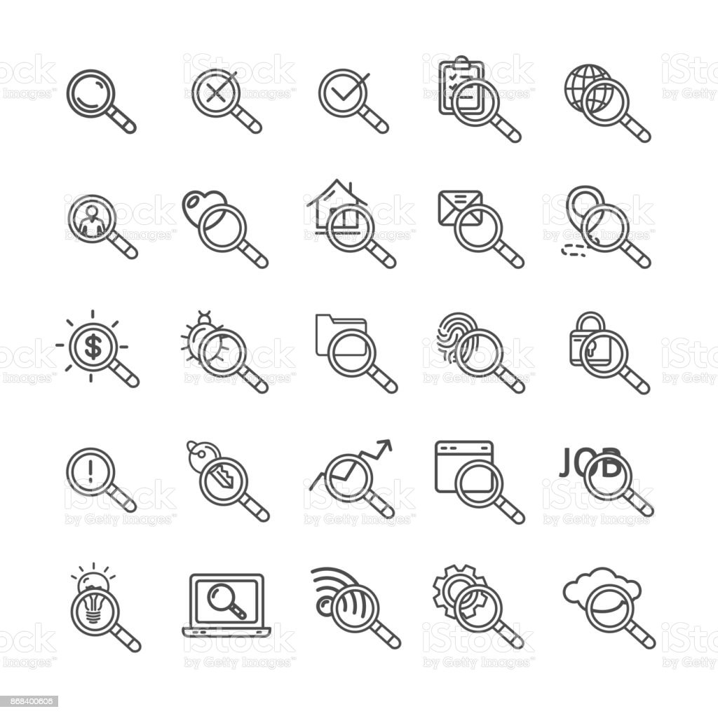 Search Signs Black Thin Line Icon Set. Vector vector art illustration