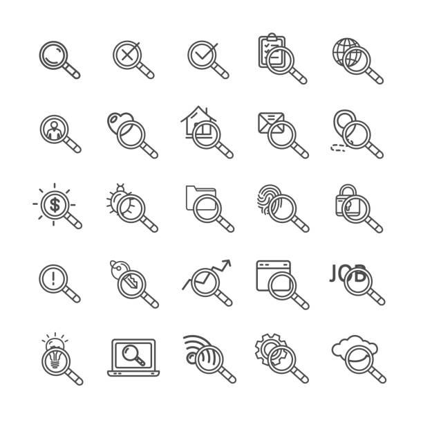 search signs black thin line icon set. vector - крупный план stock illustrations