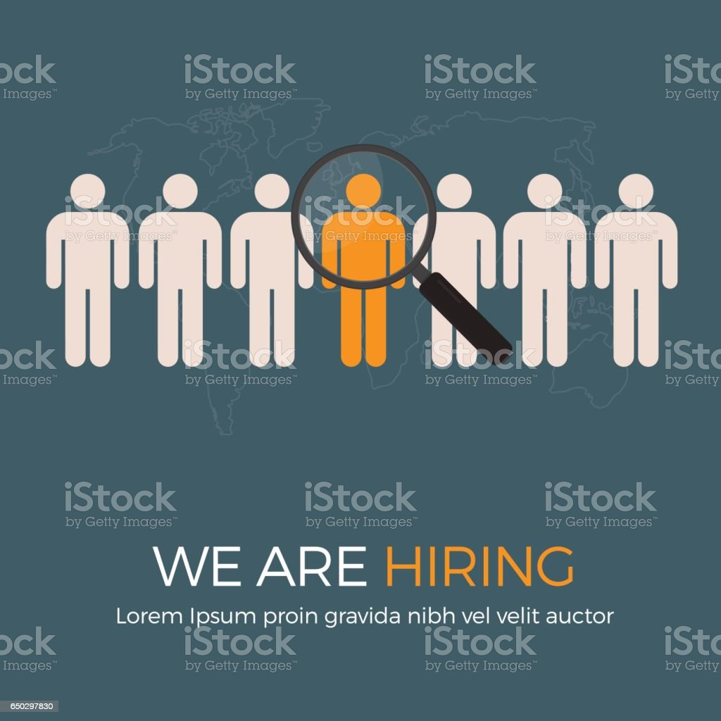 Search The Best Person From Group Of Human Icon For The Job Vacancy vector art illustration