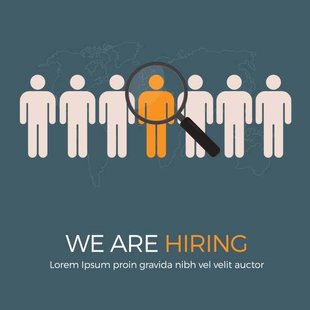 Search The Best Person From Group Of Human Icon For The Job Vacancy Magnifying Glass and Group of Human Icon candidate stock illustrations
