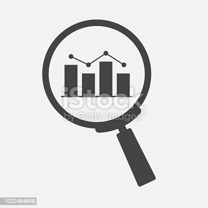 Search vector  icon glass magnifier. Business schedule of income and expenses on gray background. Layers grouped for easy editing illustration. For your design.