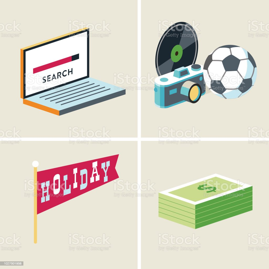 search-hobbies-holiday-payment vector art illustration