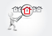 Searching a house. 3D small people vector image design graphic picture template