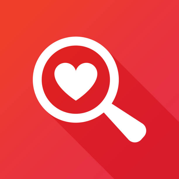 Searching A Love. Flat icon design with long shadow Searching A Love. Flat icon design with long shadow bachelor stock illustrations