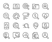 Searching Concept Light Line Icons Vector EPS File.