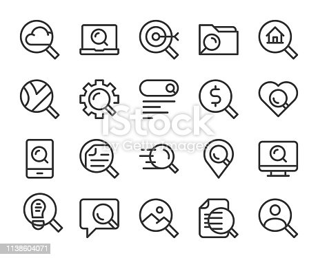 Searching Concept Line Icons Vector EPS File.