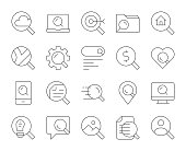 Searching Concept Thin Line Icons Vector EPS File.