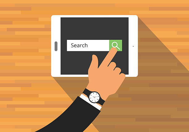 searching concept use tab or pad - google stock illustrations