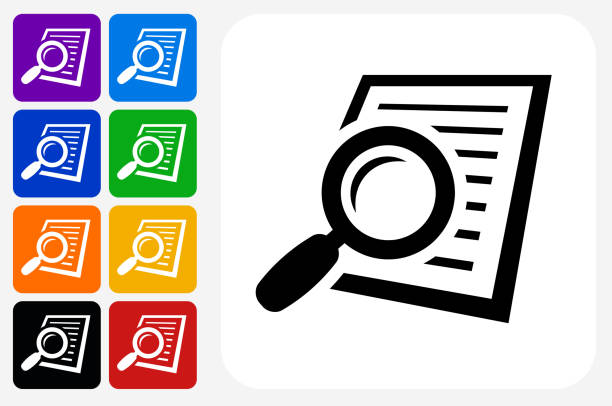 Searching Documents Icon Square Button Set vector art illustration