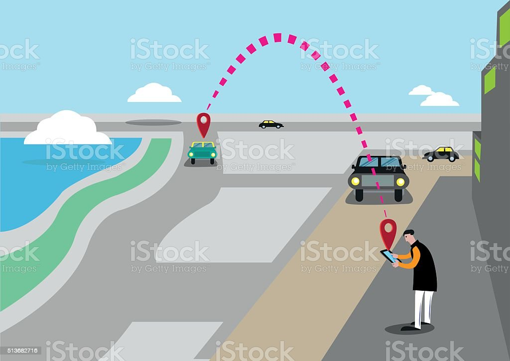 ¿Busca un automóvil o servicio de Taxi llegar un través de la aplicación - ilustración de arte vectorial