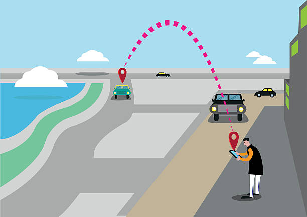 Searching for a Car or Taxi Service Ride Via App vector art illustration