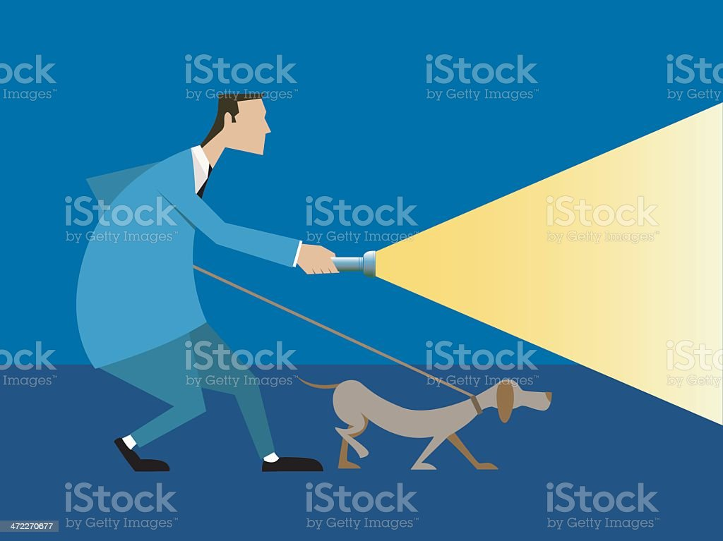 Searching for a clue vector art illustration