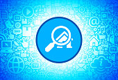 Searching for a House Icon on Internet Technology Background. This image features the main icon on a blue round button. The vector button is surrounded by a seamless pattern of internet and modern technology icons. The icons vary in size. There is a glow effect around the button. Icons include such technology elements as computer, email, internet, communications and many more. The image is predominantly blue in color.