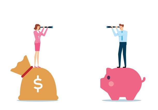 Searching For Money vector art illustration