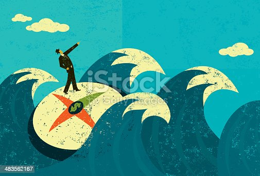 A businessman searching for new revenue in unchartered waters. The man, compass, and waves are on a separate labeled layer from the background