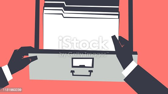 Personal perspective view of hands wearing gloves and searching for the files into cabinet drawer. Retro style illustration. Clipping mask used.