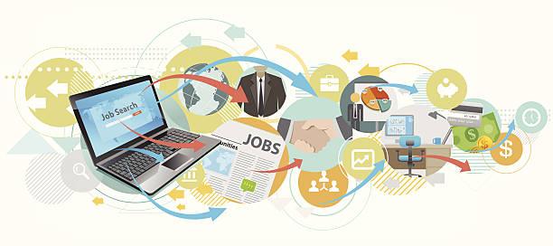 Suche job mit laptop – Vektorgrafik