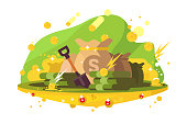 Searching money treasure