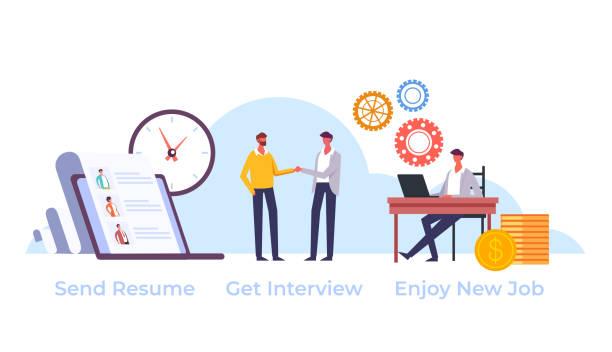 Searching new job head hunting human resources concept. Vector flat graphic design cartoon illustration vector art illustration