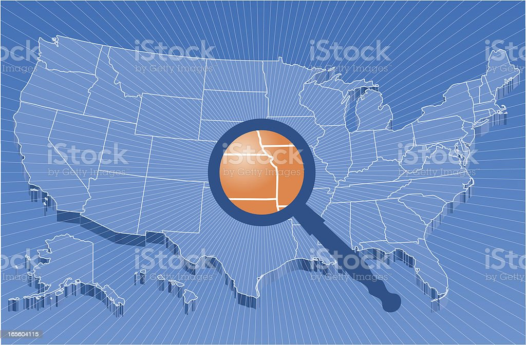 Searching Sources /  US map royalty-free stock vector art