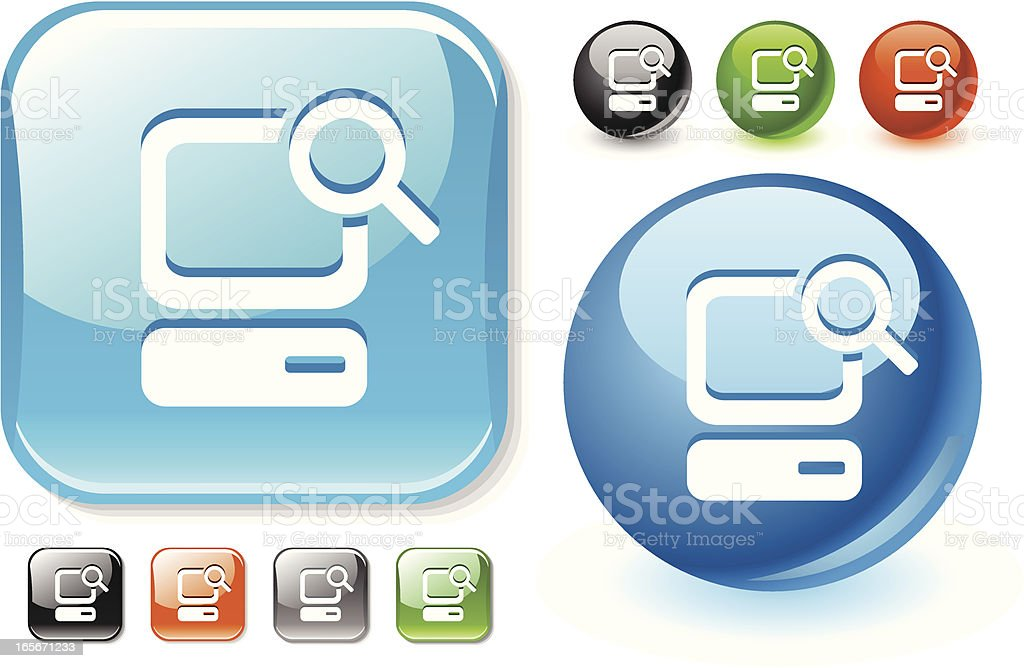 Searching the computer icon set royalty-free stock vector art