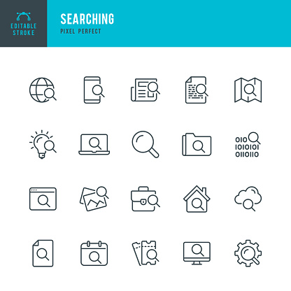 Searching - thin line vector icon set. Pixel perfect. Editable stroke. The set contains icons:  Magnifier, Big Data Analizing, Document Searching, Idea Search, Cloud Search, Internet Search.