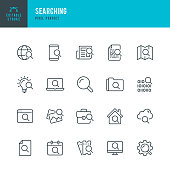 Searching - thin line vector icon set. 20 linear icon. Pixel perfect. Editable outline stroke. The set contains icons: Magnifier, Big Data Analysing, Document Searching, Idea Search, Cloud Search, Internet Search, Date Search.