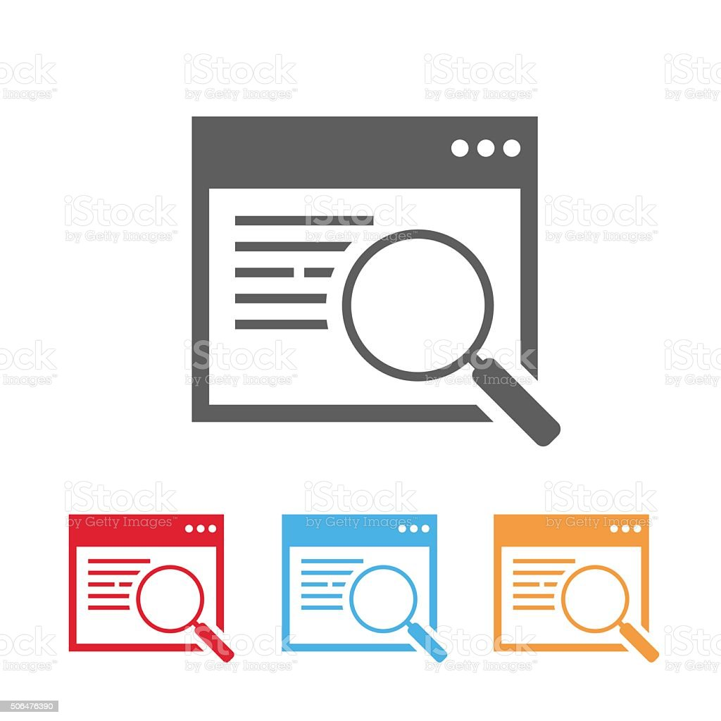 Searching web window with magnifying glass icon vector art illustration